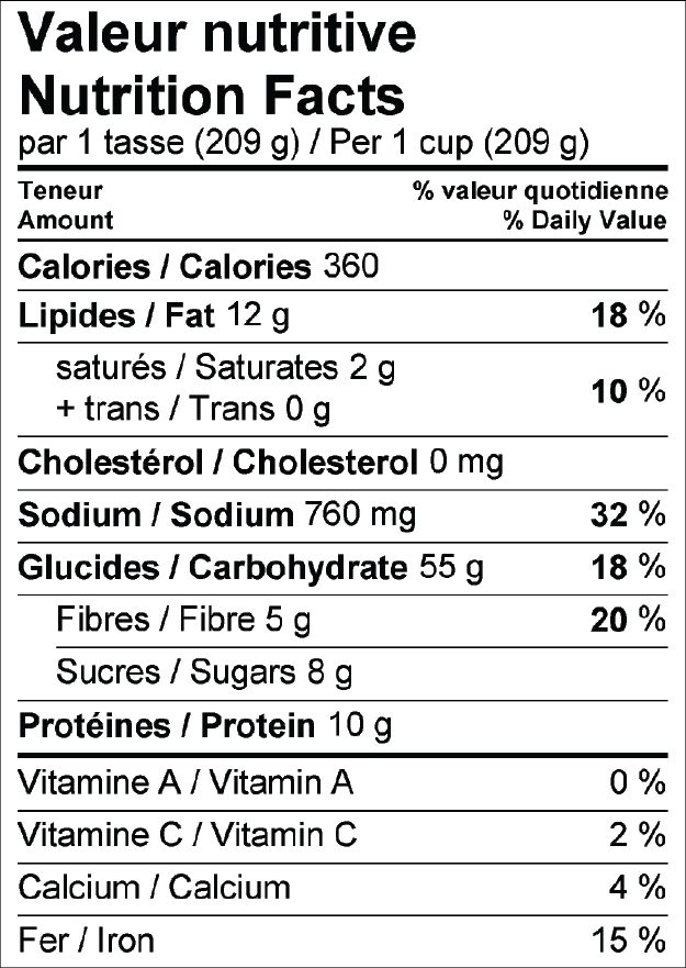 mujadarah nutrition facts